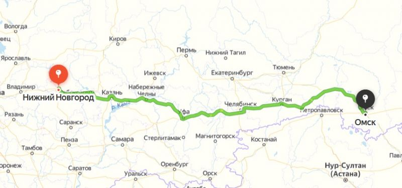 Маршрут Омск - Нижний Новгород