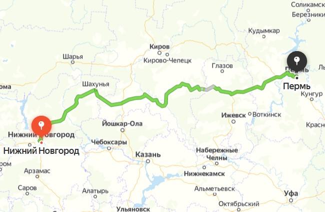 Маршрут Пермь - Нижний Новгород