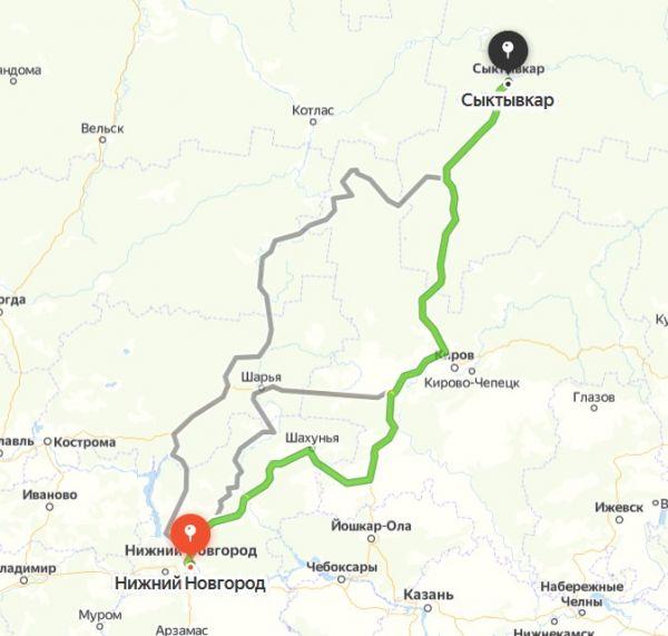 Маршрут Сыктывкар - Нижний Новгород